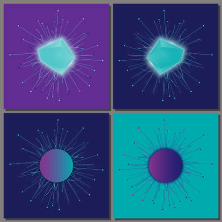 Set of banner templates with crystals. Eps10 Vector illustration.
