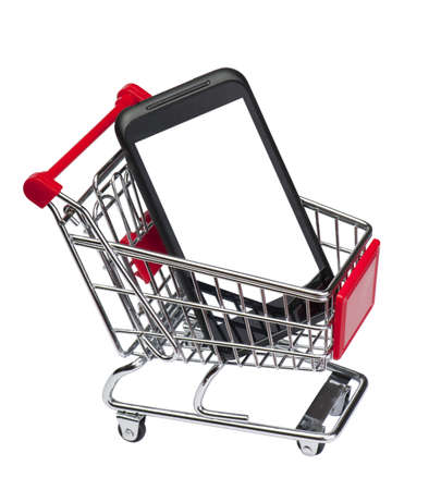 Smartphone blank screen  on market cart Stock Photo