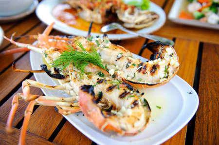 Closeup of delicious grilled lobster photo