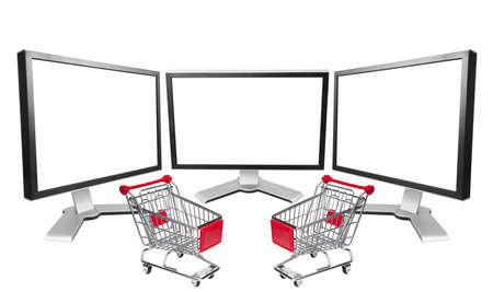 blank screen: Three computer blank screen with market cart Stock Photo