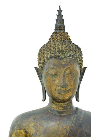 subduing: Buddha subduing mara sukhothai style 14th-15th century A D  on white blackground