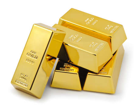 gold metal: Five gold bars