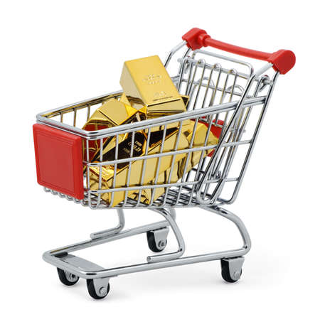 Gold bar in shopping cart  Isolated on white with clipping path Stock Photo - 17622138