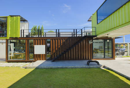 container: Container living house with blue sky. Stock Photo