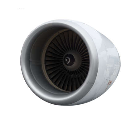 engine: A close-up of a jet engine  Isolated on white background Stock Photo