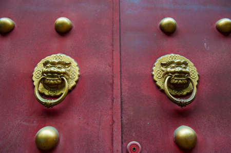 Exterior door detail from the temple in China photo