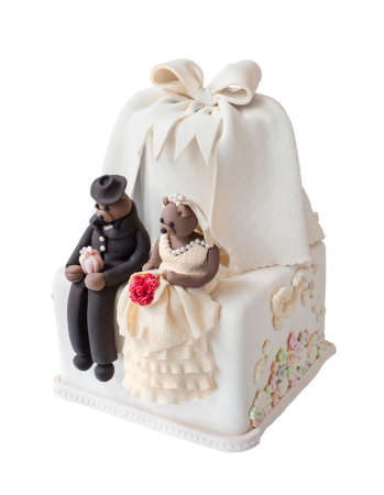 Wedding cake with bear doll photo