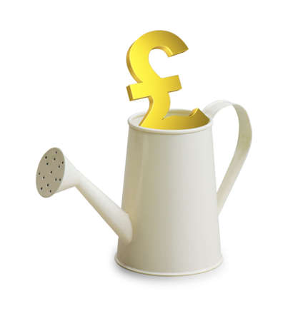 watering pot: Pound investment in watering pot Stock Photo