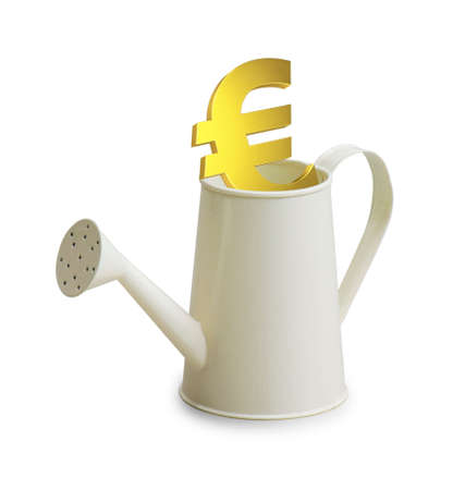 watering pot: Euro investment in watering pot Stock Photo