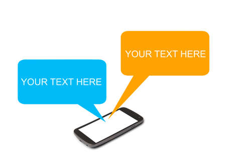multi touch: Smart phone with blank message chat Stock Photo