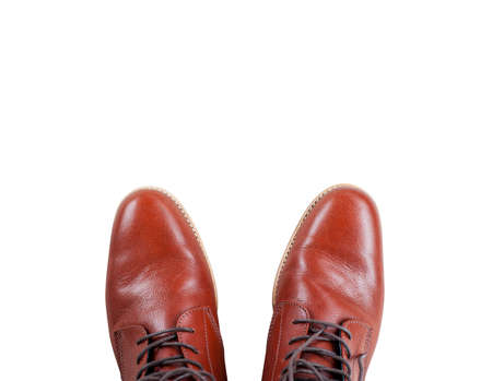 Men brown leather boots