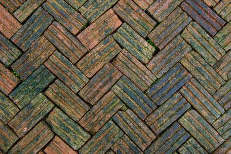 Brick floor with plants photo