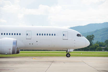 Commercial airplane taxiing