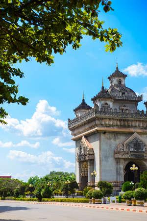 winning location: Patuxai, the victory gate of Vientiane, Laos Stock Photo