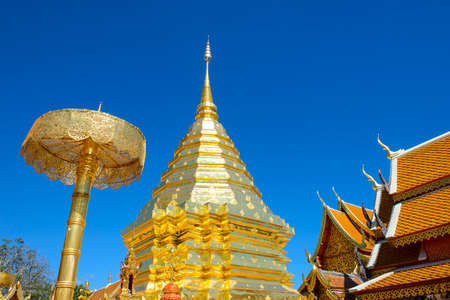 buddhist temple roof: Wat Phra That Doi Suthep is a major tourist destination of Chiang Mai, Thailand
