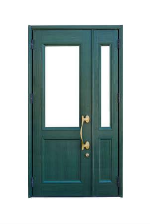 green door: Closed wooden green door Stock Photo