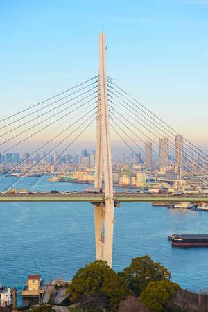 rope bridge: Rope bridge with clear sky in japan Stock Photo