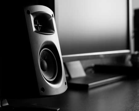 speaker: Modern music speakers at recording studio