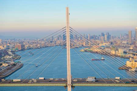 rope bridge: Aerial view of rope bridge Stock Photo