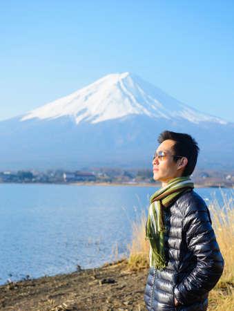 korean ethnicity: Asian tourists with Mount Fuji, Japan Stock Photo