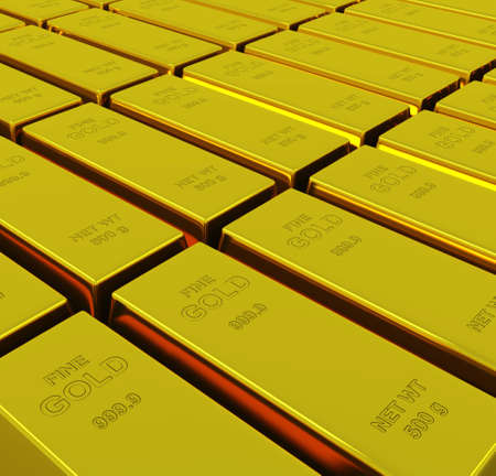 goldbars: Gold ingots with depth of field