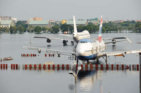 Airport fill with water during flood crisis