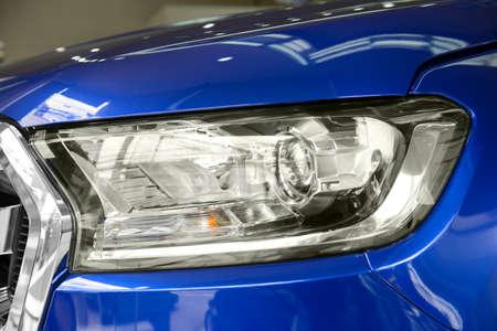 head light: Close up of modern car head light