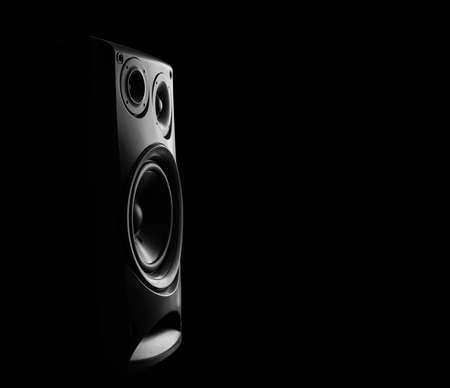 loud speaker: Musical loud speaker with black background Stock Photo