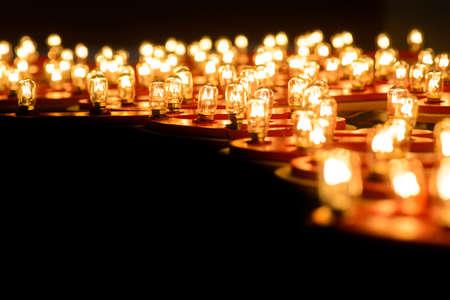 tungsten: Glowing round tungsten lamps