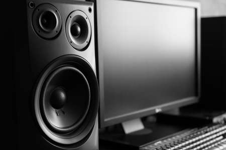 decibel: Three way speaker at recording studio Stock Photo