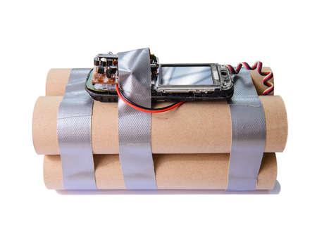 Homemade terrorist bomb with mobile phone Stockfoto