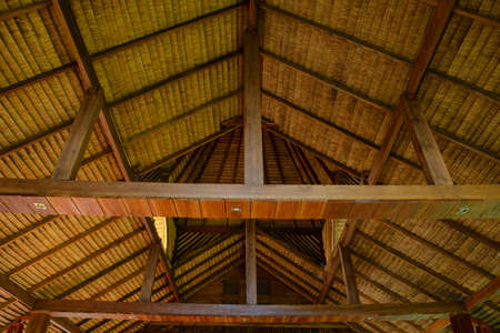 lumber industry: Roof details of wooden house Stock Photo