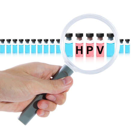 Find HPV vaccine with magnifying glass