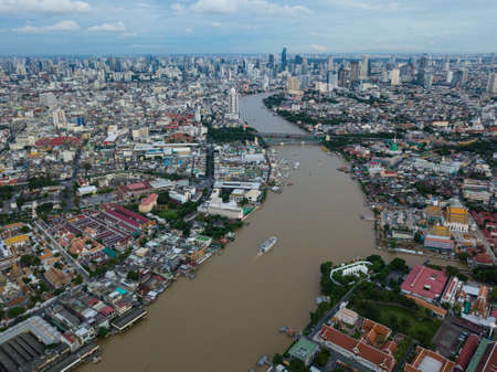 Aerial view of Chao Phraya river at Bangkok Stok Fotoğraf