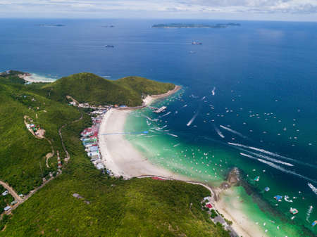 Top view of Tawean beach at Ko Lan, Pattaya