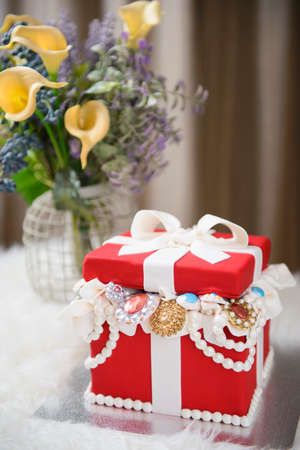 Red Jewelry Box Cake Stock Photo Picture And Royalty Free Image