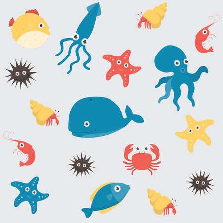 Sea life underwater cartoon animals Vectores