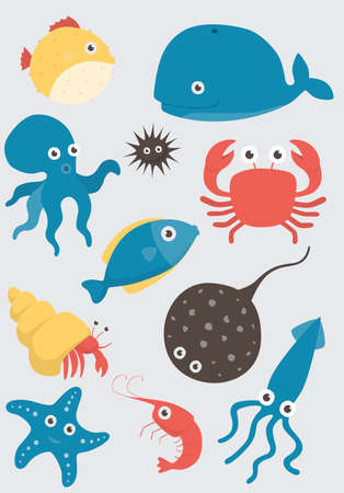 Sea animals vector set on white background