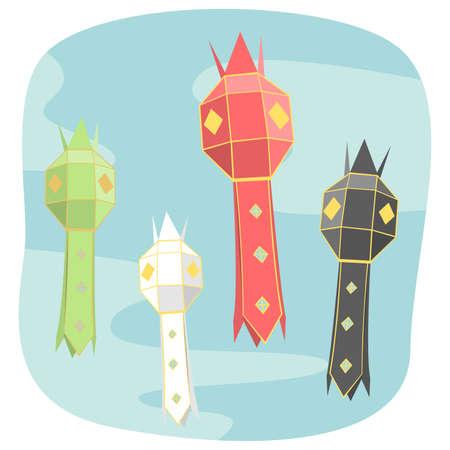 Northern thai style paper lamp lighting graphic vector Stock Illustratie