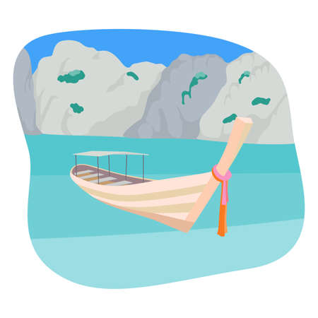 熱帯のビーチでロングテール ボート。
