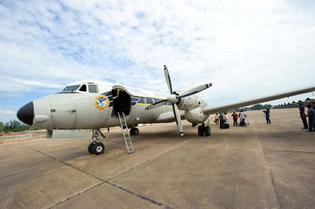 Surat Thani, Thailand - January 12, 2011 : Royal Thai Air Force Hawker Siddeley HS748 parking at Surat Thani International Airport Stock Photo - 96884594