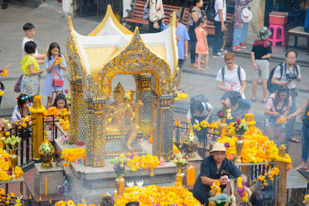 Bangkok, Thailand - January 27, 2018 : The Erawan Shrine, (Thao Maha Phrom Shrine), is a Hindu shrine in Bangkok, Thailand, the Thai representation of the Hindu god of creation Lord Brahma Editorial