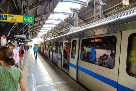 New Delhi, India - April 10, 2016 : Delhi Metro network consists of six lines with a total length of 189.63 kilometres (117.83 mi) with 142 stations