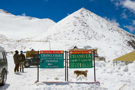 Leh, India - April 12, 2016 : Chang La pass in Ladakh, India. Chang La is the main gateway to the Changthang Plateau located in Indian Himalaya. It has an elevation of around 5,360 m Editorial