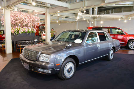 Tokyo, Japan - April 2, 2015 : A Toyota Century in Toyota Mega Web showroom on Odaiba island. This limousine is produced mainly for the Japanese market and is Toyota flagship car