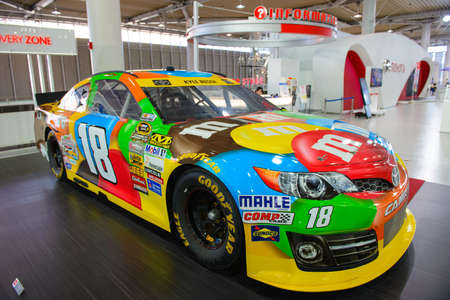 Tokyo, Japan - April 2, 2015 : The Toyota M&M Camry NASCAR in Toyota Mega Web showroom on Odaiba island 報道画像