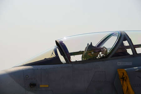 Cockpit of jet military plane Stock Photo