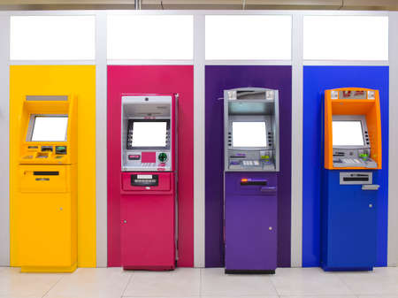 ATM bank cash machine from different sides color