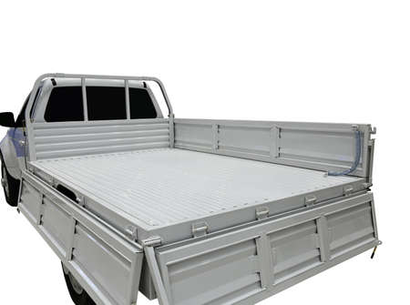 Rear view of empty pick-up truck bed