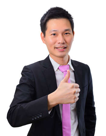 Portrait handsome asian business man with thumb's up